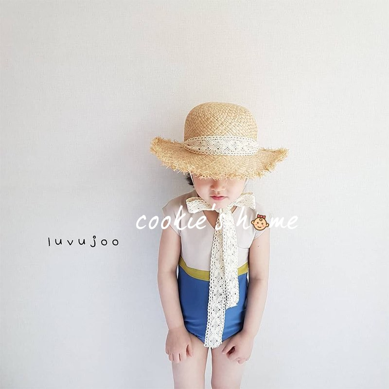 Nón cói dây hoa ren cho bé gái đi biển nón cói che nắng cho em bé