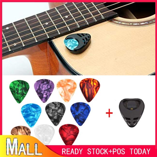 10 Pcs Guitar Picks & Guitar Pick Holder Set for Acoustic Guitar Electric Guitar Bass Ukulele