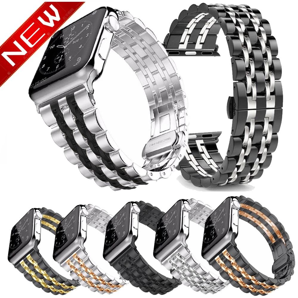 Dây Đeo Inox Cho Đồng Hồ Thông Minh Apple Watch Series Se 6 5 4 3 2 1 Kích Thước 38mm 40mm 42mm 44mm