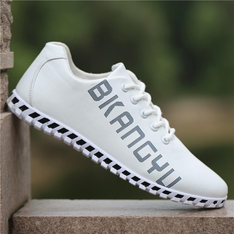 รองเท้า┇┇Men's leather waterproof sports shoes spring trend new Korean version of the hundred-set soft-soled casual