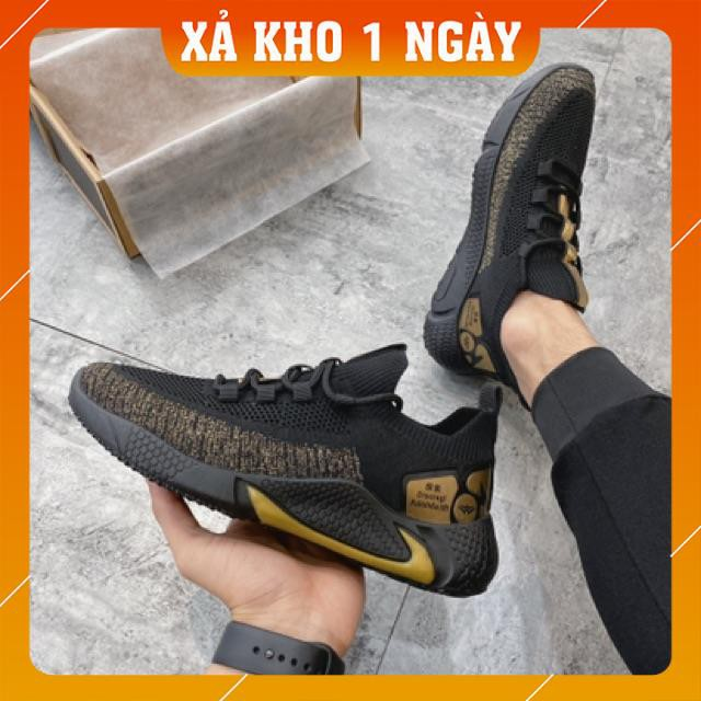 [FreeShip - Hàng New] Giày thể thao nam, giày nam vải sợi thể thao cao cấp đen nhũ vàng D63