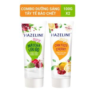 Sữa rửa mặt Tẩy tế bào chết Hazeline Cam Yuzu Cherry 100g và Sữa rửa mặt Sáng daHazeline Matcha lựu đỏ 100g
