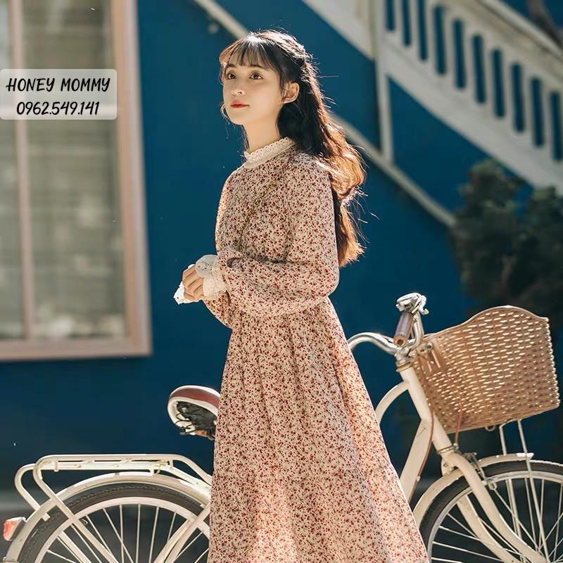 Váy Bầu Hoa Nhí Cổ Ren Kèm Đai Thắt HD4805 Honey