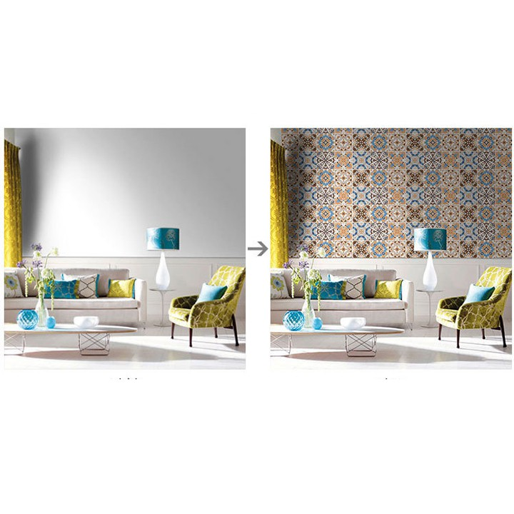 Giấy dán tường (Set 30 ô) Decal gạch bông, dán tường phòng khách, nhà bếp, phòng ngủ, phòng ăn nhiều mẫu (1 ô 15x15cm)