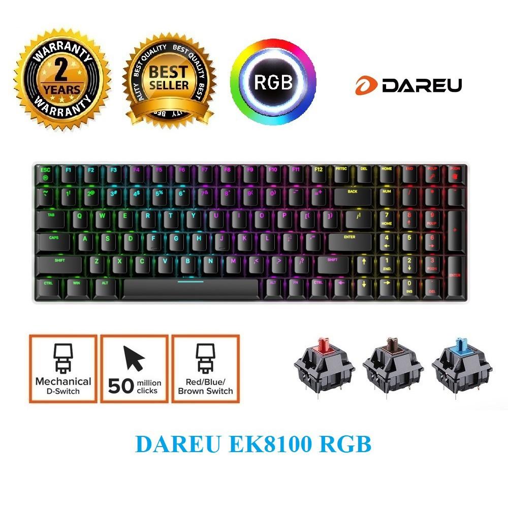 Bàn phím cơ Gaming DareU EK8100 led RGB Blue/ Brown/ Red D Switch/ type C