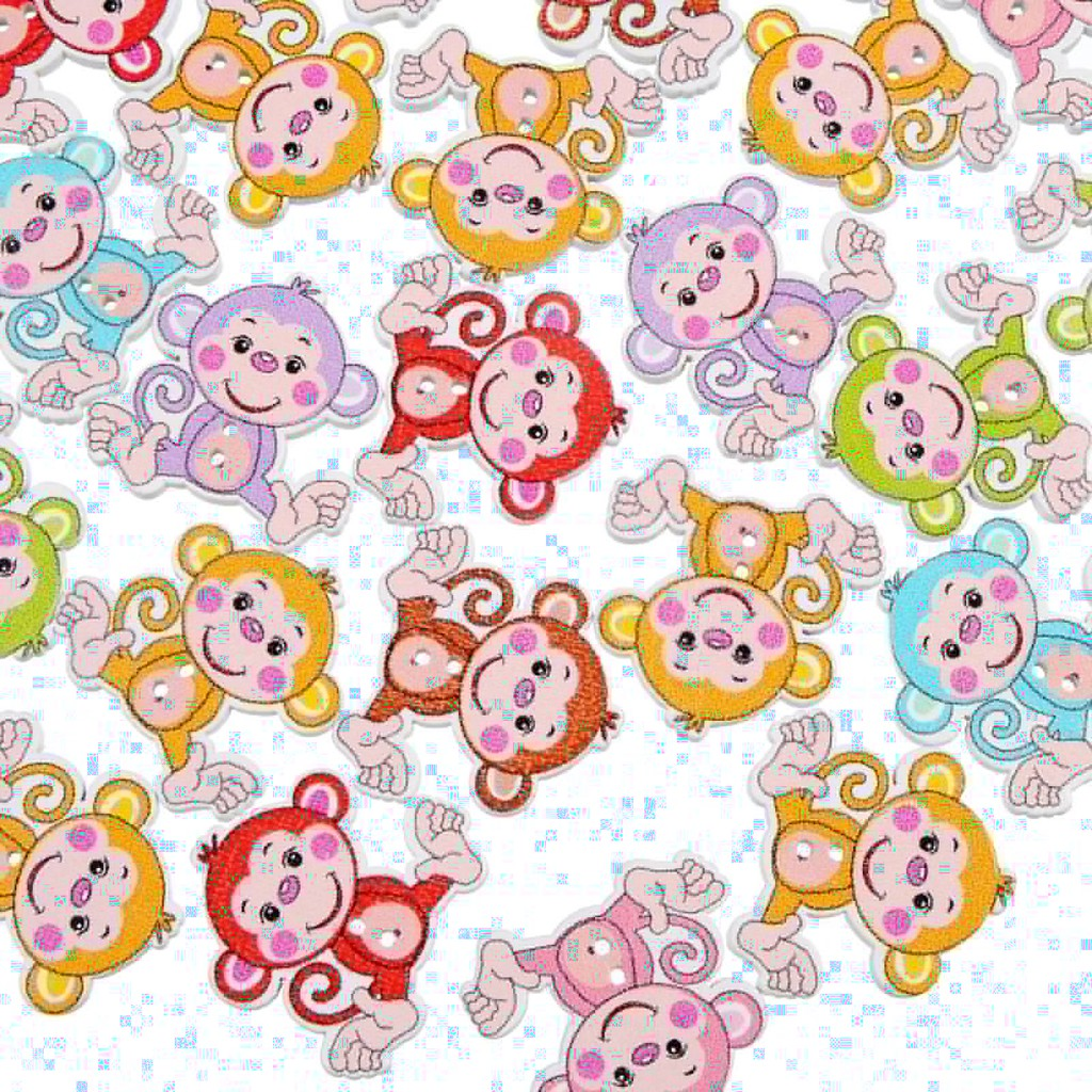 ♥superH♥50Pcs/lot Monkey Shaped Buttons Wooden Decoration Buttons Mixed Wood Sewing Buttons
