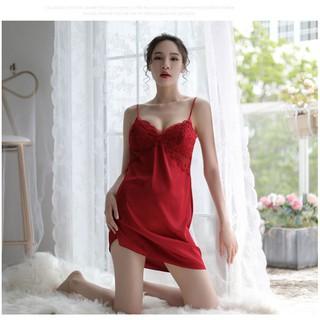 [bigsize M/L/XL 65KG _💯✴FREESHIP ĐƠN 150K💯✴] Váy ngủ sexy hai dây lụa satin phối lưới ren lưng, đồ ngủ sexy SL115