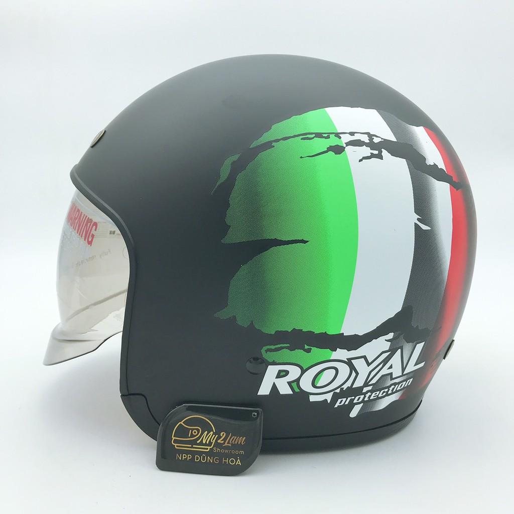 Mũ bảo hiểm 3/4 kính âm Royal M139 tem V2 cờ Ý (tặng kèm túi đựng)