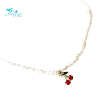 French Wild Cherry Love Retro Natural Pearl Clavicle Chain Palace Style Girl Wild Necklace Necklace