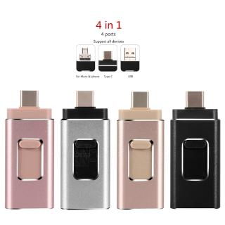 [Mã CBEL06 giảm 20% đơn 50k] 4 in 1 USB Flash Drive for IPhone 128GB 64GB 256G 512G IOS Pendrive USB 3.0 Phone Stick Type C Stick