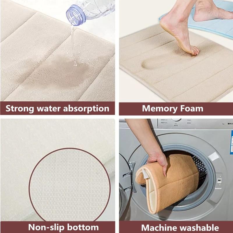 (Ready Stock)Foot Mats/ Door Mat Bedroom Carpet/ Bathroom Non Slip Mat/ Coral Velvet Mats/ Memory Foam Water-absorbing and Rebound