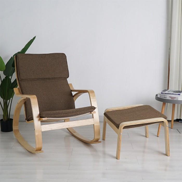 Ghế đọc sách - Ghế thư giãn bập bênh kèm đôn - Poang Rocking Chair
