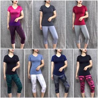 Bộ quần áo tập gym, yoga, thể thao nữ, quần lửng Camo – áo có tay HIYE, big size
