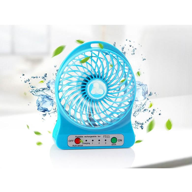 Quạt sạc tích điện mini usb fan (xanh, đen) vrg1142