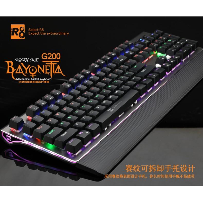 Bàn phím cơ cao cấp R8 G200 Led RGB đa màu (Đen)