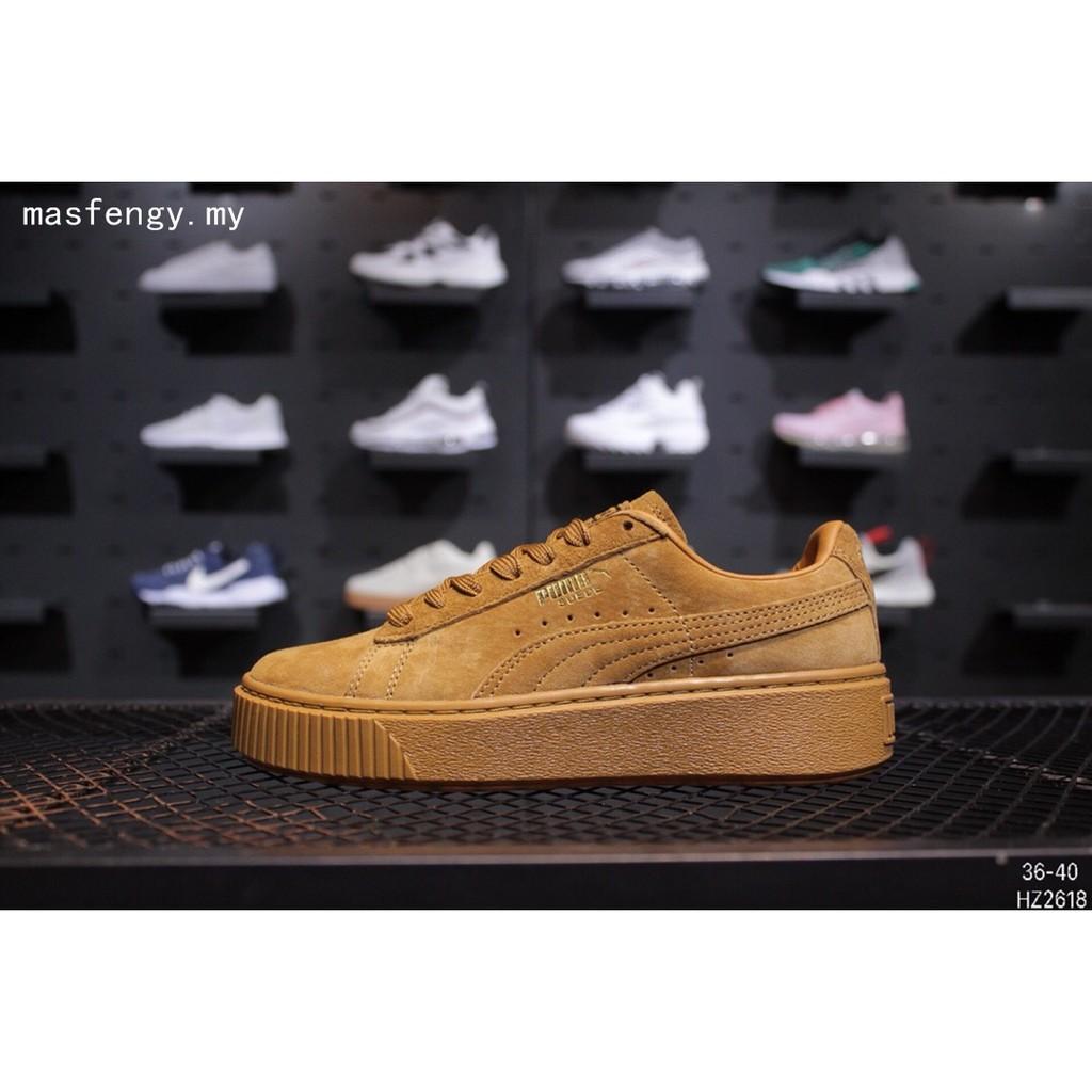 เดิมรองเท้าผ้าใบสีน้ำตาลผู้หญิง Puma Suede Classic + Crftd รองเท้ากีฬาลำลอง Rihanna Fenty