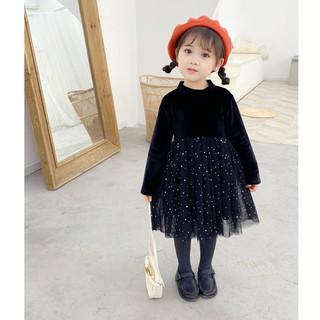 Đầm công chúa nhung cao cấp tay dài cho bé 3-8 tuổi đi tiệc chân váy chấm sao sang trọng đáng yêu BBShine – D055