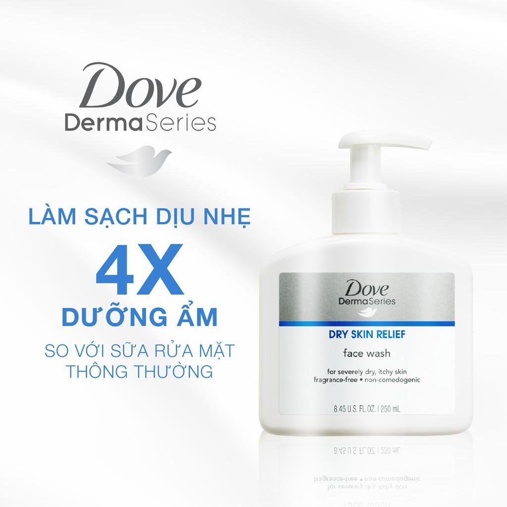 Combo sữa rửa mặt chăm sóc da khô Dove Dermaseries 250ml + Kem dưỡng da mặt phục hồi da khô Dove Dermaseries