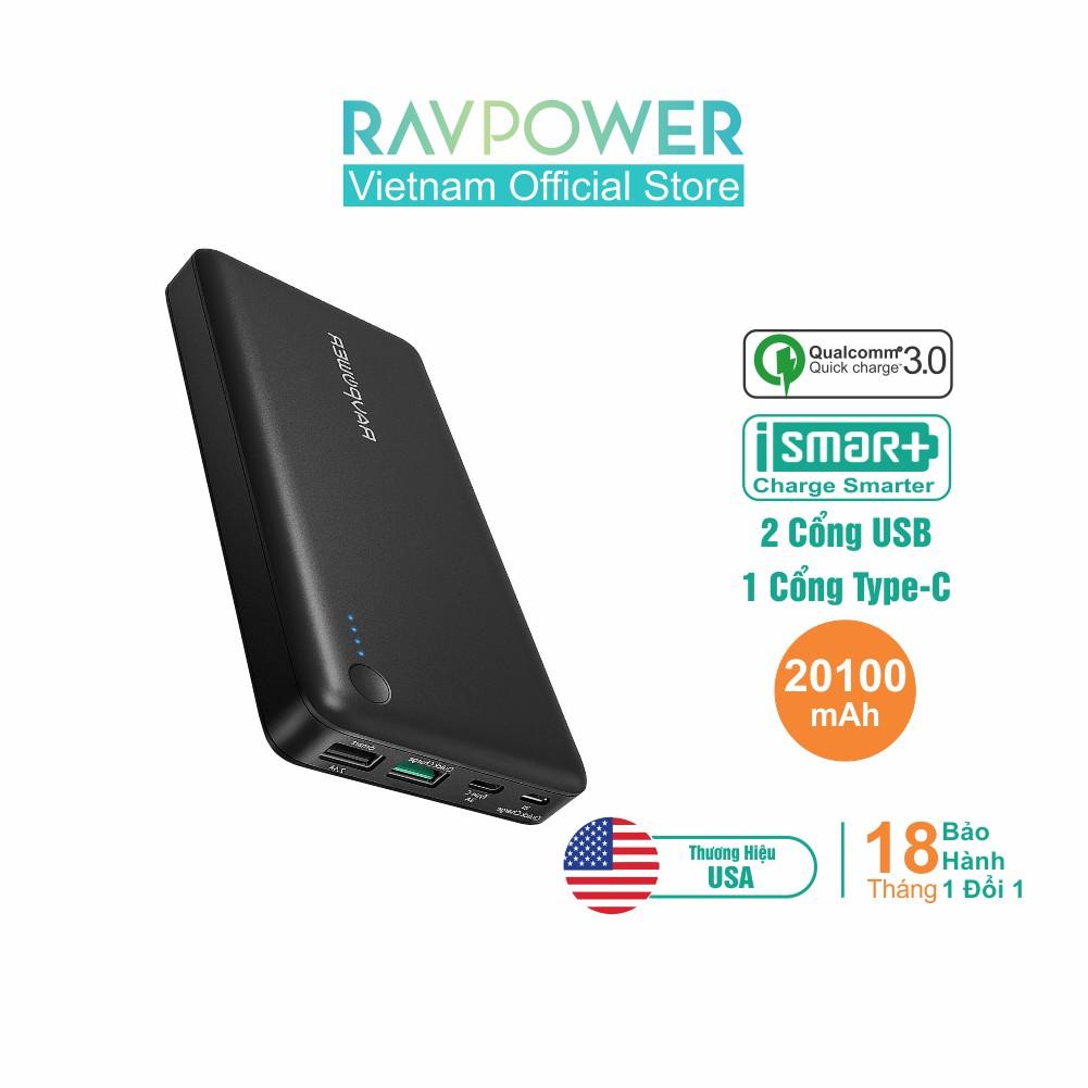 [Mã ELTECHZONE giảm 5% đơn 500K] Pin Sạc Dự Phòng RAVPower 20100mAh QC3.0 (Input/Output), In/Out Type-C