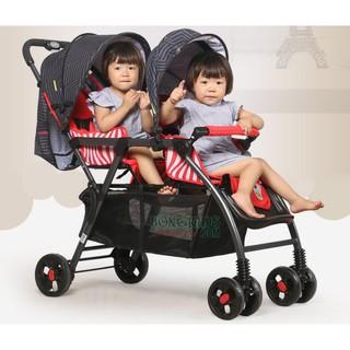 Xe đẩy đôi ghế trước và sau cao cấp cho bé CÓ LƯỚI THOÁNG baohaohao 705