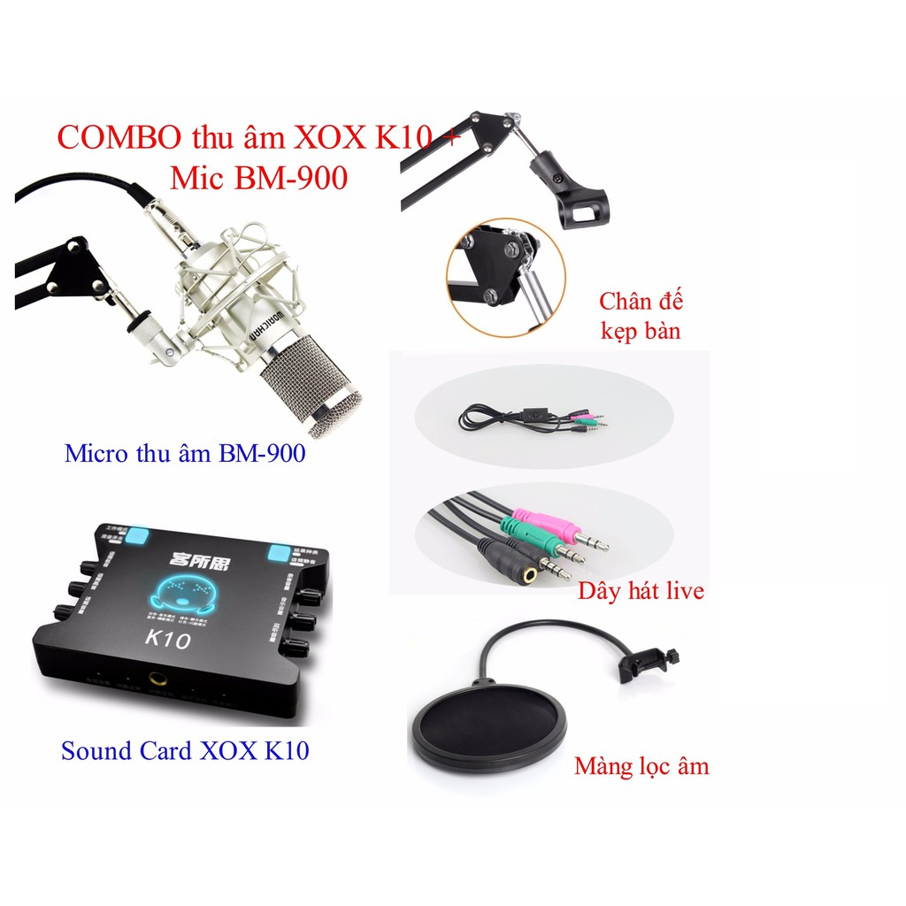 Bộ thu âm Live STream Mic BM900 + Card xox K10+ Đầy đủ phụ kiện