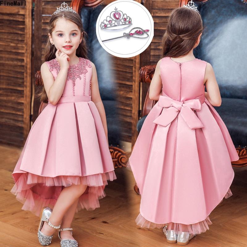 Đầm công chúa cổ tròn cộc tay họa tiết hoa đáng yêu cho bé gái