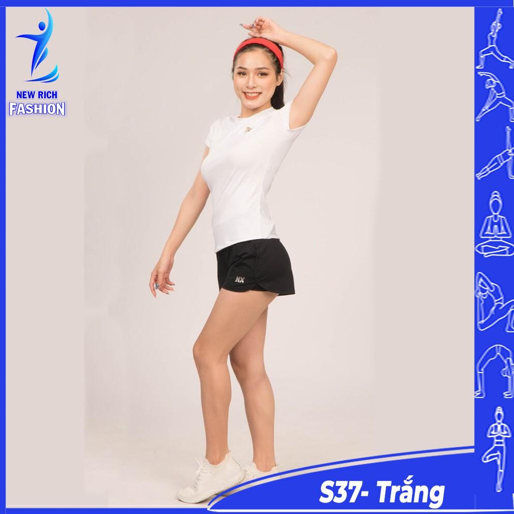 Đồ tập gym nữ ngắn quần short 2 lớp có túi, áo phối lưới, chất thun co giãn 4 chiều thoải mái