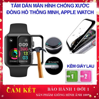 Kính dán màn hình đồng hồ thông minh, Apple Watch cong 3D full chống trầy xước, chống nước, dán dễ dàng