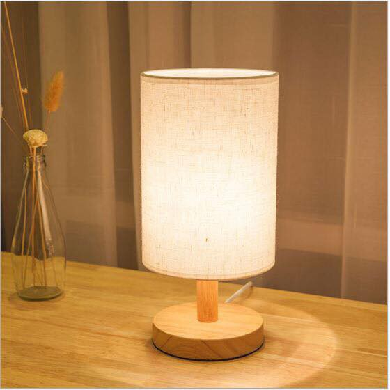 Đèn ngủ để bàn đế gỗ chao vải LOLI cao cấp loại chuẩn xịn - Tặng kèm bóng LED chuyên dụng
