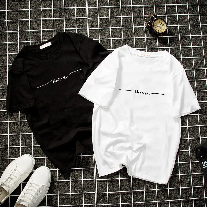 Áo thun trắng đen unisex form rộng nam nữ chữ kiều MAN vải dày mịn