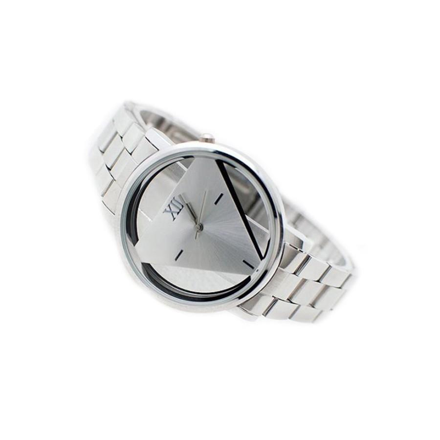 Đồng hồ Unisex kiểu dáng tam giác bằng thép không gỉ cho nam/nữ