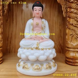 Tượng Phật Thích Ca đá màu trắng 16in cao 41cm mẫu mới