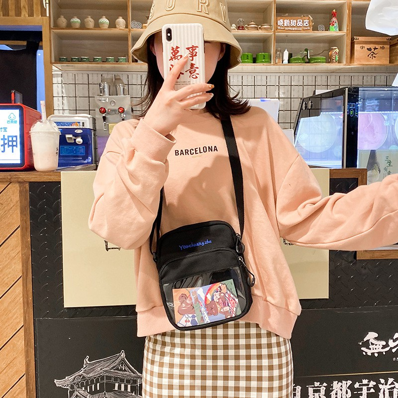 Túi Vải Canvas Đeo Chéo Phong Cách Hàn Quốc Xinh Xắn Dành Cho Nữ