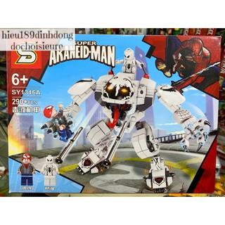 Lắp ráp xếp hình Lego siêu anh hùng SY 1346 mẫu A : Robot anti venom trắng đại chiến người nhện 290+ mảnh