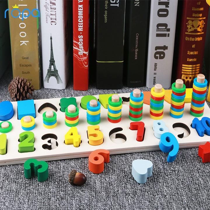 Đồ Chơi Thông Minh Đếm Số Bằng Gỗ 3 trong 1 cho bé học tập vui chơi Đồ Chơi toán học