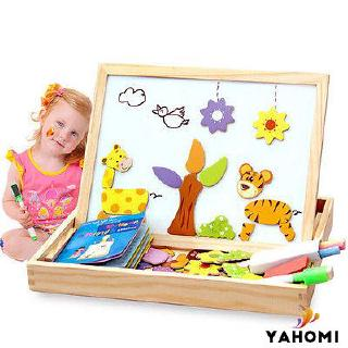 ❀Yaho❀Kids Wooden Animal Magnetism Easel Doodle Drawing Board