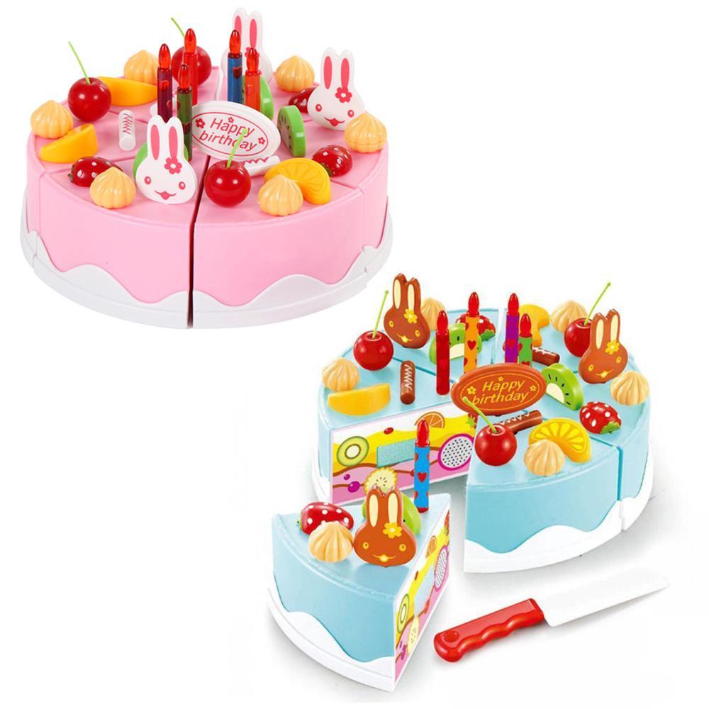 54pcs Pretend Role Play Kitchen Toy Birthday Cake Food Cutting Set Kids Gift