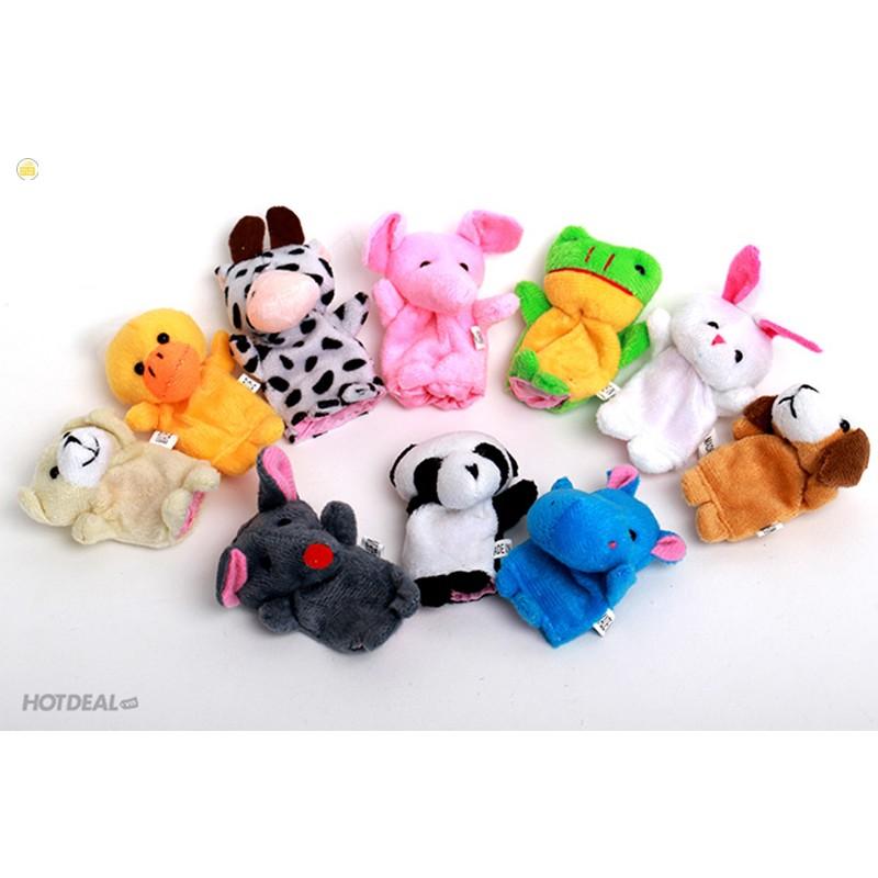 [Bán hết]Bộ thú rối 5 con xỏ ngón tay bằng vải cao cấp cho bé nhận biết màu sắc con vật