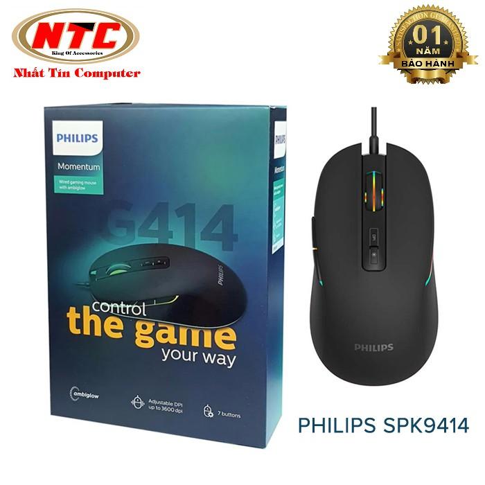 Chuột 7D chuyên game Philips SPK9414 (G414) led RGB - DPI 3700 (đen)