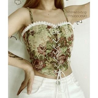 áo hai dây thổ cẩm viền ren croptop , áo hoa retro pháp, áo corset vintage A02(áo croptop có mút)