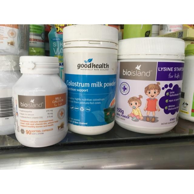 Combo 1 canxi milk ,1 lysine &1 sữa non goodhealth 100%