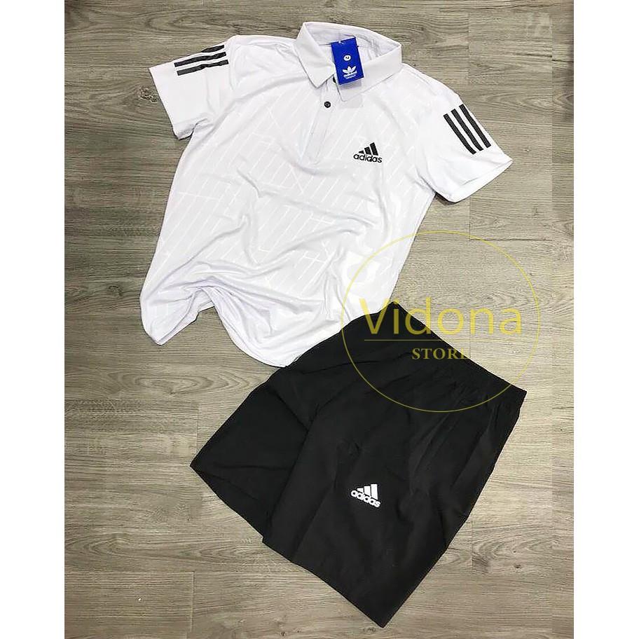 [ Adidass ] Bộ thể thao nam - quần áo thể thao - áo thể thao ( cổ bẻ, thun lạnh 4 chiều)