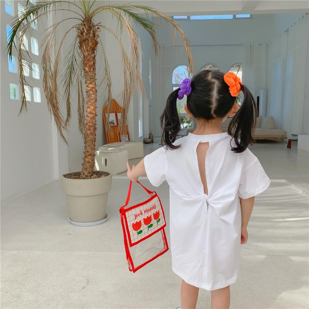 [V067] Áo váy thun trắng xẻ lưng cho bé sz 80-130