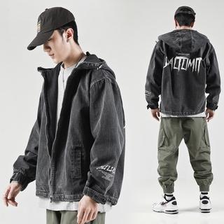 Men's Denim Jacket Slim-Fit Top Denim Jacket Hong Kong Style Student Denim Jacket Male Main KoreaninsLoose Wild Jacket Tooling on Clothes PbAl