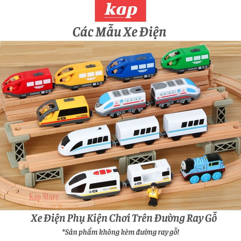 Tàu điện 2 toa chỡ khách, xe lửa chạy pin, chơi cùng đường ray xe lửa gỗ