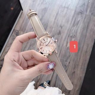 (Thẻ bảo hành 12 tháng) Đồng hồ dây da nữ Burberry mặt hồng, bảo hành 12 tháng, có box