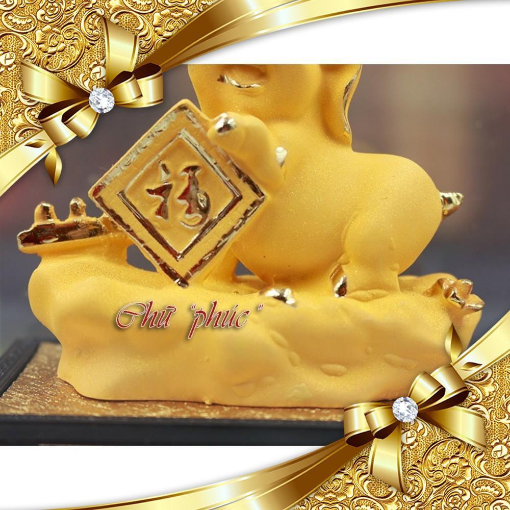 Tượng heo bột đá xi vàng, phong thủy trang trí văn phòng, phòng khách K051