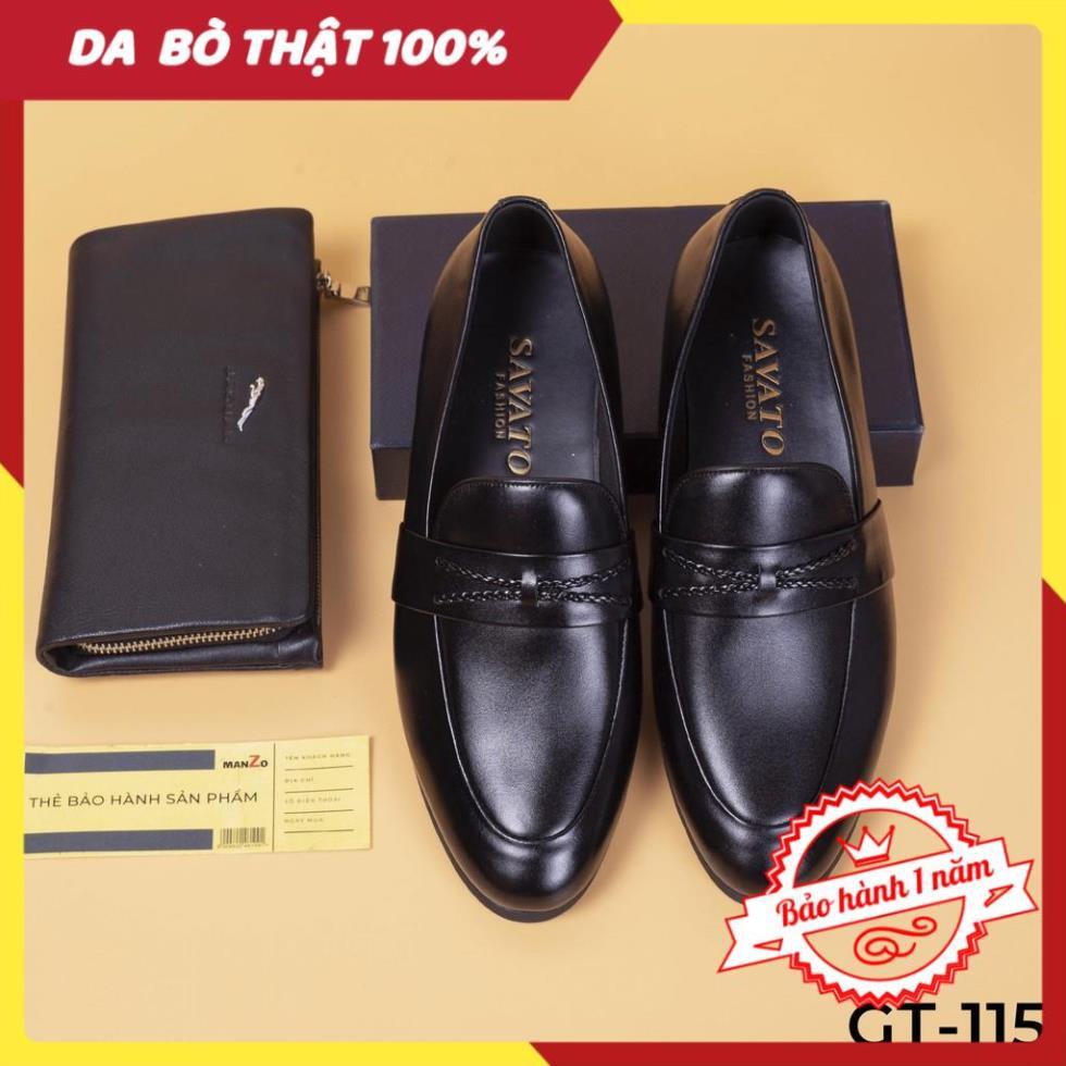[FREESHIP - DA THẬT] -  Giày lười nam da bóng công sở cao cấp - giày da bò chính hãng - GT115
