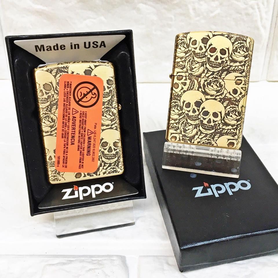 Bật Lửa Zippo USA Mạ Đồng Khắc 5 Mặt Đầu Lâu Hoa Hồng Đời 17 ( có tem đỏ )