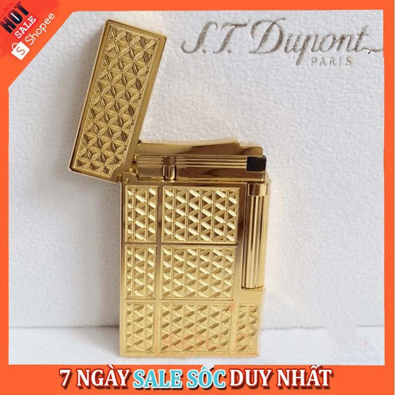 [Bao Giá Thị Trường] Hộp Quẹt Bật Lửa Dupont D14V Sơn Mài Họa Tiết Tam Giác Ánh Vàng Cao Cấp
